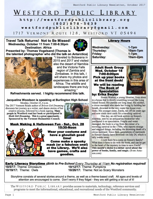 page one of the october newsletter