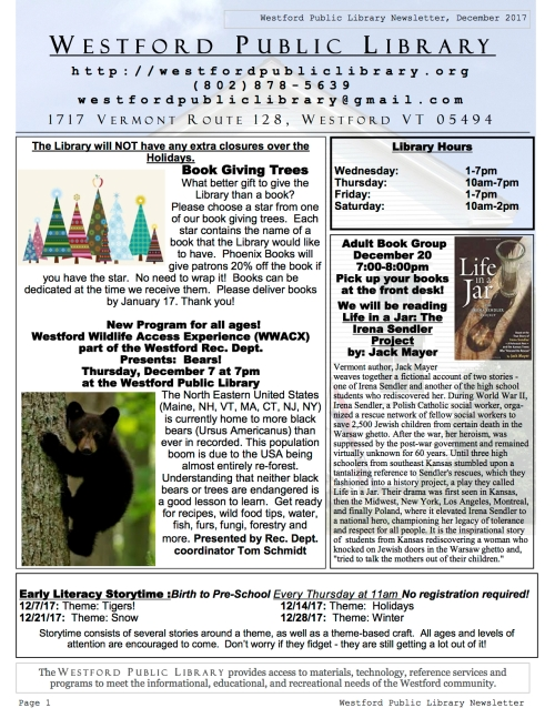 page 1 of december newsletter